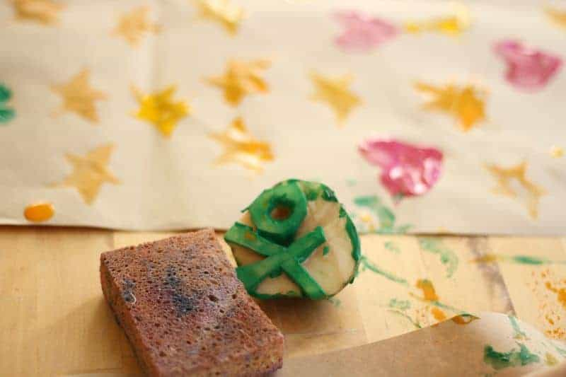 Potato cut into a stamp for decorating wrapping paper.