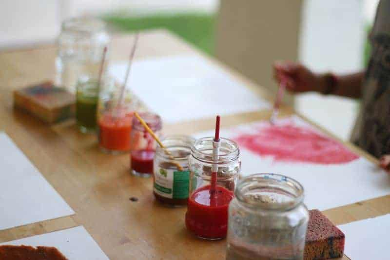 Paints in jars