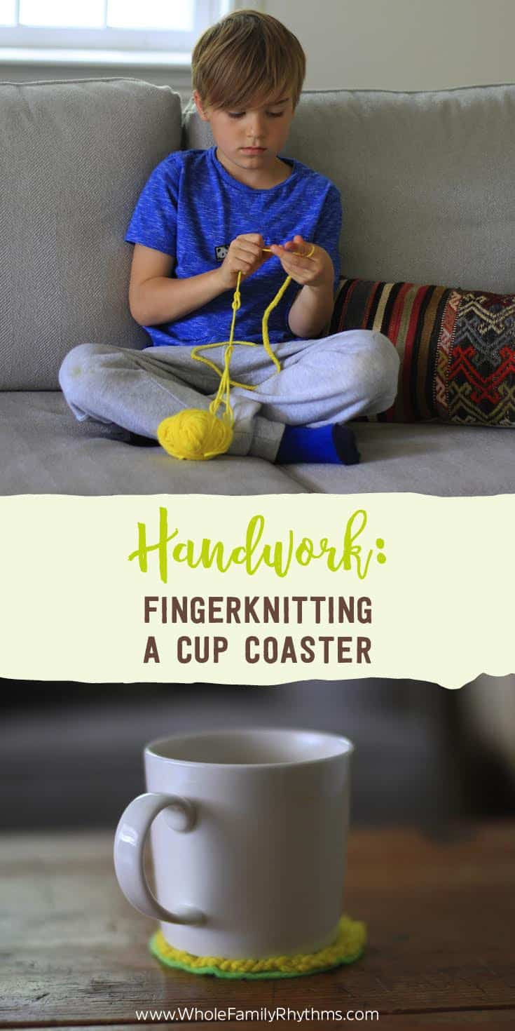 Fingerknitting is fun and helps to develop your child's fine motor skills. Learn how to fingerknit and create a beautiful fingerknit cup coaster.