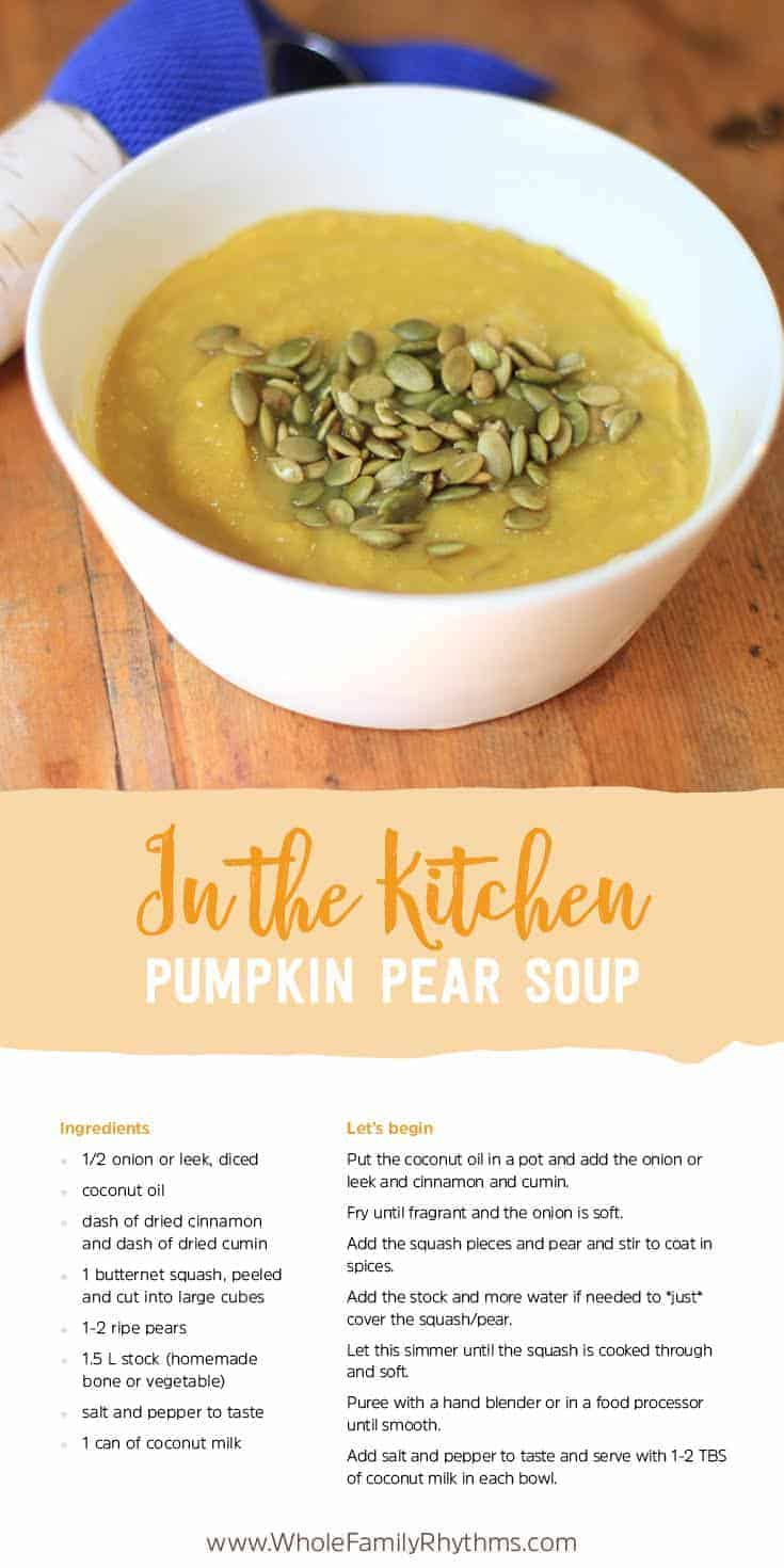 This Pumpkin Pear Soup is a delicious and warming meal on its own or paired with a salad or homemade spelt rolls. It is also a wonderful recipe for the whole family to make together.