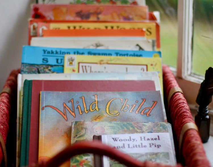 Children's Books in a basket.