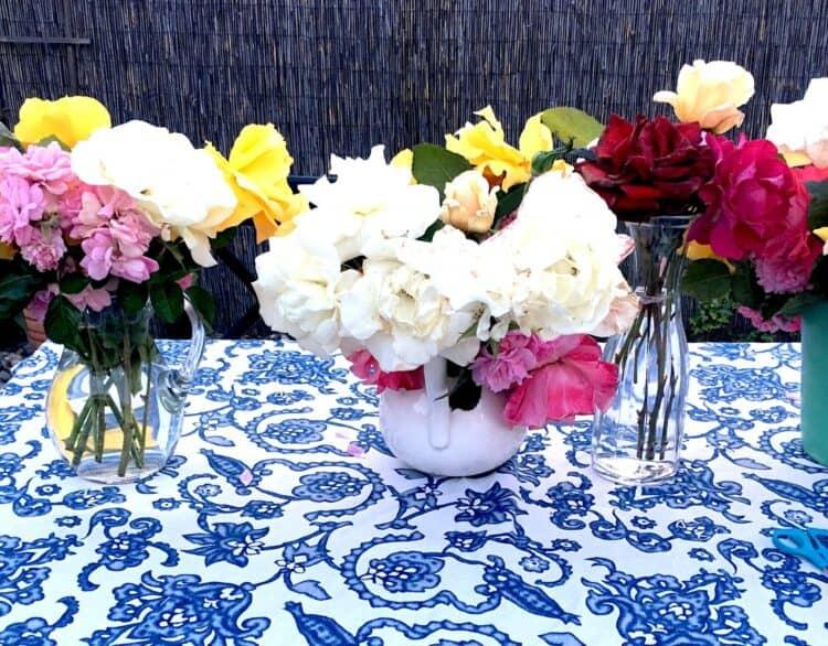 Flower bouquets on Beltane table